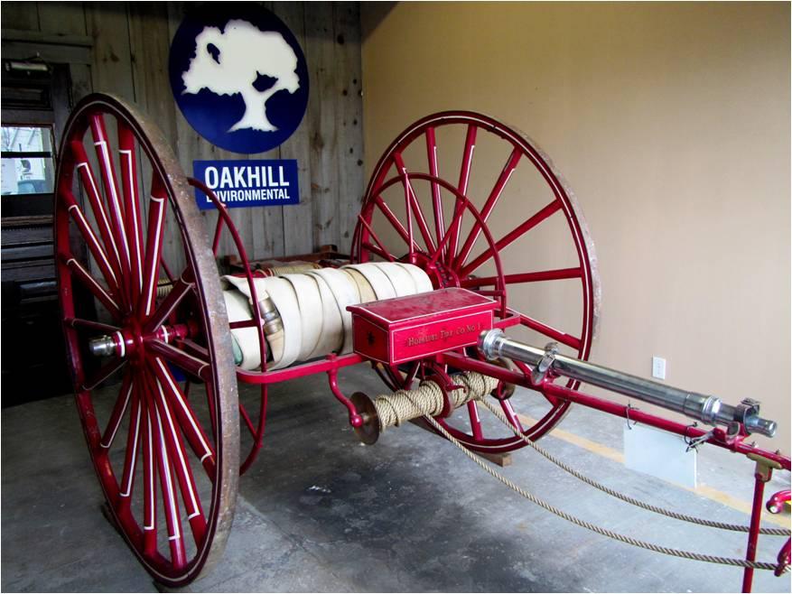 1859 antique hand drawn hose cart
